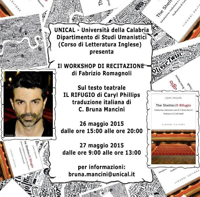 Workshop di Recitazione di Fabrizio Romagnoli alla UNICAL – Università della Calabria