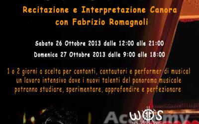Workshop di recitazione e interpretazione canora sabato 26 e domenica 27 ottobre 2013 – LIVORNO