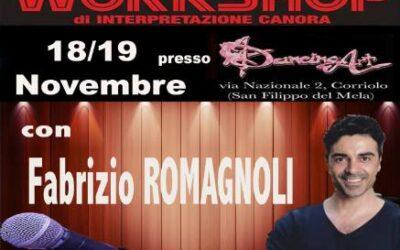 Workshop di interpretazione canora di Fabrizio Romagnoli il 18 e 19 novembre 2017 a San Filippo del Mela – Milazzo (ME)