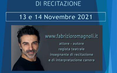 Workshop di Recitazione il 13 e 14 novembre 2021 a Velletri (RM)